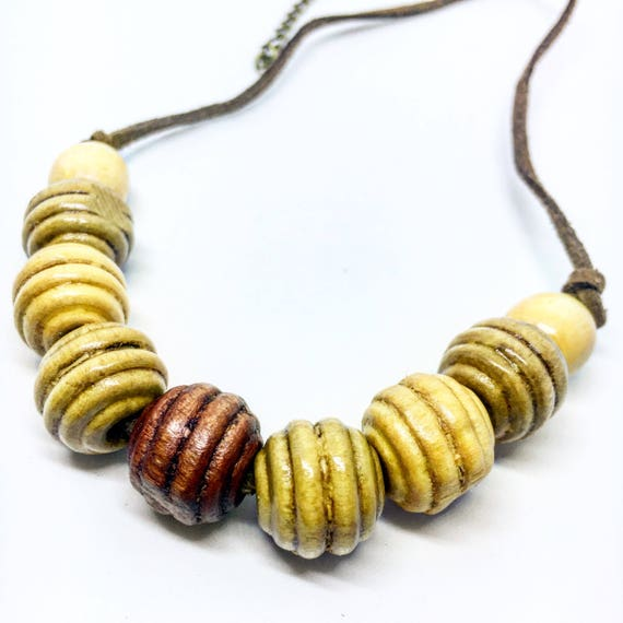 Round Wooden Beaded Necklace on Faux Suede Cord With Adjustable Clasp