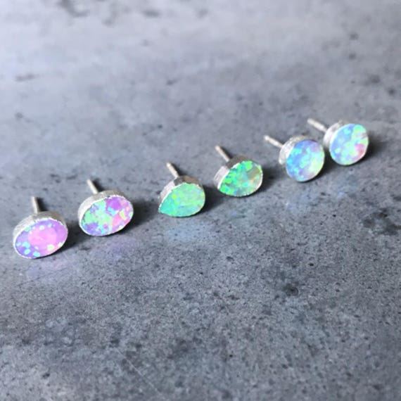 Opal studs Earrings, Green Opal Earrings, Whaite Opal jewelry, October Birthstone Jewelry, Libra, teardrop circle oval shape, Bridesmaids