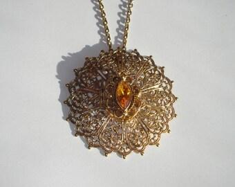 Vintage Large Locket Necklace Brooch - Gold Filigree Pendant Pin - Amber Rhinestone Jewelry 1970s