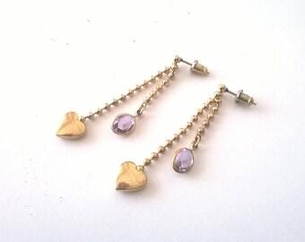 Vintage Heart Tassel Earrings  - Small Gold Dangle Purple Earrings - 1980s Fashion Jewelry New Deadstock