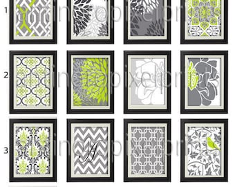 Lime Grey Grey White Vintage / Modern   inspired Art Prints -Pick Any (3) Prints, Any Color - 16x20 Prints - (UNFRAMED)