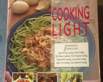 3-day SALE Vintage cookbook healthy recipes, Cooking Light Cookbook,  kitchenware cookbook, 1995 recipes compilation, illustrated how to coo