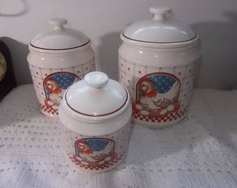 Rooster Canister Medium and Small, Vintage Kitchen, Roosters, Country Kitchen, Farm house Kitchen, Country Farm house Kitchen,  :)s*