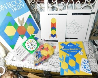 Pattern Block Party Learning Resources 1990, Learning Shape Game, Vintage Learning Shape Game, Home Schooling, Special Needs Children,