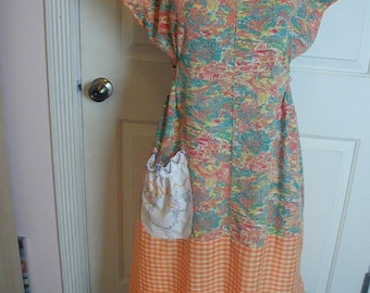 """Vintage Style Cotton Dress, """"Dottie Angel"""" Pattern, Hand Made, One of a Kind,  Size Medium, Loose Fitting, Summer Dress, Vintage Fabrics"""