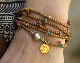 Om Bracelet, Pearl Bracelet, Tourmaline Bracelet, Sandalwood Bracelet, Beaded Bracelet, Stretch Bracelet, Charm Bracelet, Beaded Bracelet