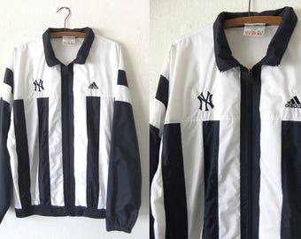 Pinstripe New York Yankees Windbreaker Jacket - 90s Adidas Zip Up MLB Baseball Throwback Sporty Vintage Anorak - Mens Large