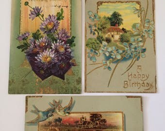 Antique Postcards / Antique Birthday Greetings Postcards Flowers & Birds 1910's Great for Collage, Decoupage, Journals, Mixed Media, etc.