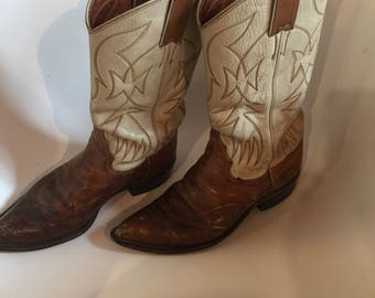 Vintage Brown and White Justin Cowboy Boots - Women's Size 7