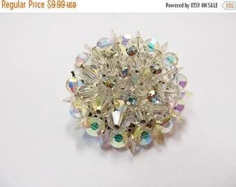 On Sale Vintage Aurora Borealis Crystal Cluster Pin Item K # 3293