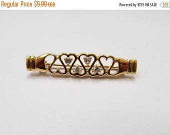 On Sale Vintage Heart and Rhinestone Bar Pin Item K # 849