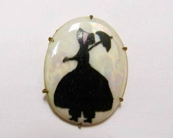 ON SALE Vintage Painted on Iridescent Porcelain Silhouette of a Woman Pin Item K # 1306