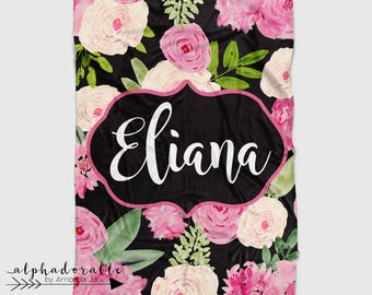 Personalized Minky Baby Blanket in Pink, Green and Black Watercolor Floral. It's so Buttery soft!