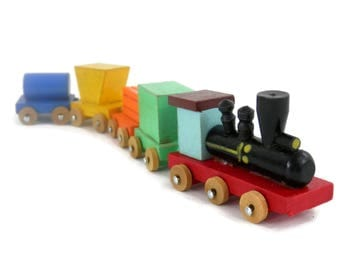Miniature Wooden Train by Shackman Painted Wood Locomotive Made in Japan Handmade Wooden Miniatures
