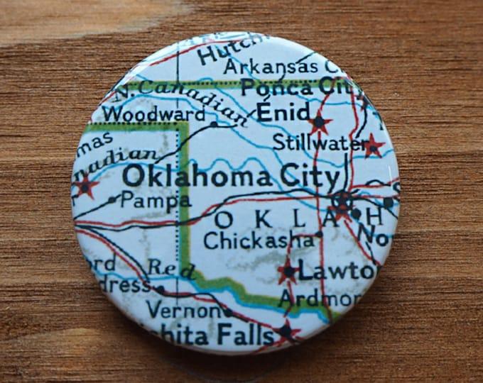 Pinback Button, Oklahoma City, Ø 1.5 Inch Badge, Atlas, Travel, vintage, fun, typography, whimsical