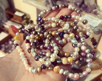FREE UK SHIPPING! Stunning fresh water pearl bracelet multi colour