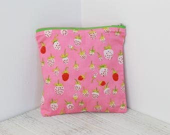 Strawberries and Flowers Large Zippered Pouch