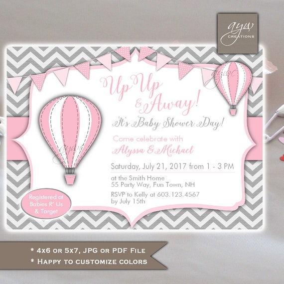 Hot air balloons baby shower invitations girl baby shower invites il570xn filmwisefo Image collections