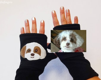 Poodle Custom Fingerless Gloves with Pockets for Dog Lovers