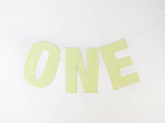 ONE Glitter Banner - Yellow - Glitter Letters. First Birthday. High Chair Banner. Party Supplies. Party Decorations. Photo Prop.
