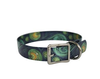 DutchDog Waterproof Dog Collar - Van Gogh Starry Night impression
