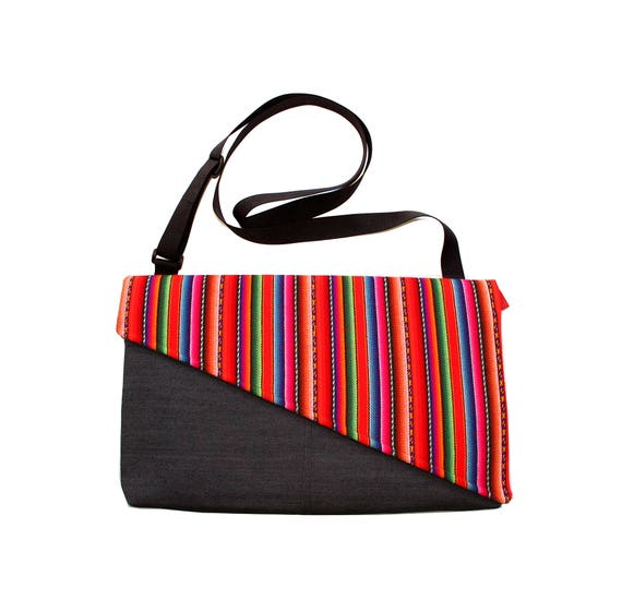SALE! Bright stripes, Peruvian textile, Messenger bag, cross body bag