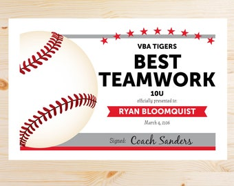 Editable Baseball Award Certificates - INSTANT DOWNLOAD PRINTABLE - Red Scarlet and grey gray silver