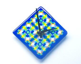 Unique Wall Clock, Square or Diamond Shape, Handmade Glassware, Multi Color Fused Glass, Kaleidoscope Design, Modern Anniversary Gifts