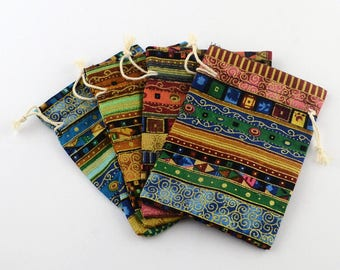 6 mix color 17.5x12.5cm Ethnic Style Cloth Packing Pouches-6690A