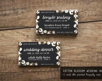 LDS Wedding Temple Sealing Insert {Cotton Blossom}