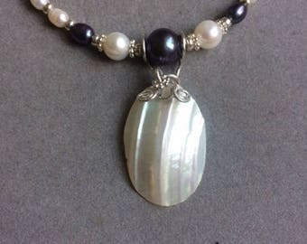 Necklace: abalone shell pendant and freshwater pearl