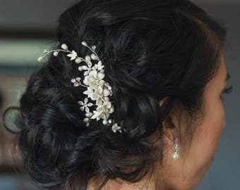 Floral Hair Comb, Wedding hair Flower, Bridal hair Piece, Bridal hair comb, Wedding Hair accessories, Bridal Headpieces, Mia Hair Comb