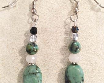 African Turquoise 10X14mm Puff Oval Drop Earrings with Faceted Jade and 6 mm Round African Turquoise Beads and Tiny Czech Beads.