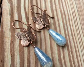 Butterfly Earrings Butterfly Jewelry Blue Earrings Blue Jewelry Made in USA Cute Earrings Dangle Earrings Copper Earrings Drop Earrings