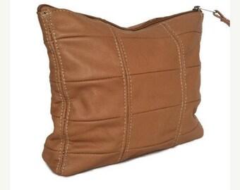 ON SALE Camel Leather Clutch Bag, Large Pouch, Genuine Leather Handbags, Fashion Handbag, Trendy Purses Letty