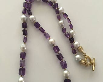 Silvery South Sea Pearl and Amethyst Necklace
