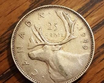 1949 Canada 25 Cent   SILVER