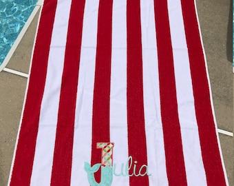Red Striped Mermaid Tail Beach Towel, beach towel, monogrammed beach towel, personalized beach towel