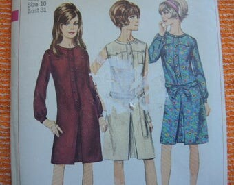 vintage 1960s Simplicity sewing pattern 6627 misses one piece dress size 10