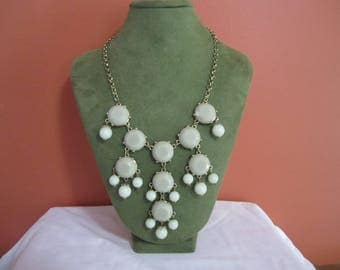 Green Beaded bib necklace statement necklace, bead necklace