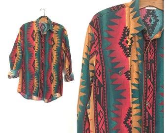 Vintage Southwest Western Shirt 80's 90's Western Shirt Tribal Cowboy Shirt Southwest Clothing Long Tails Medium Large Womens Mens A2