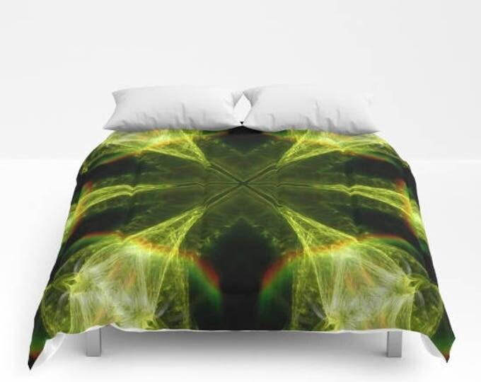 Neon Green Kaleidoscope Comforter, Bedspread, Abstract Art, Photography, King Bedding, Queen Bedding
