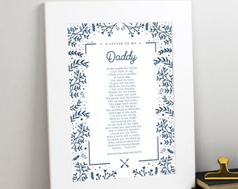 Gift for Daddy - Personalised Gift For Daddy Poem Print - Typographic Poem Print - Father's Day Gift