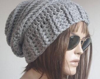 womens hat Winter Hat gray Knit Hat Winter hat Slouchy Hat  winter Accessories Woman hat crochet hat