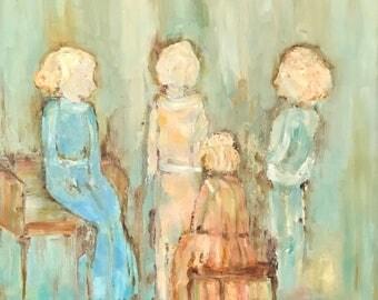 AFTERNOON CHAT Original Oil Painting, Artist Judie Mulkey