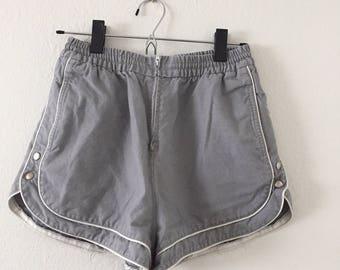 Vintage Gray Skiva High-Waisted Shorts
