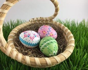 Set of 3 Quail Eggs Pysanky, Traditional Polish Eggs, Wax-Embossed Eggs, Easter Gift