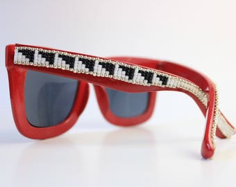 Red Frame Hand Beaded Black and White Sunglasses - Native American Handcrafted
