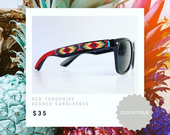 Black Frame Red Tribal Beaded Sunglasses - Native American Handcrafted