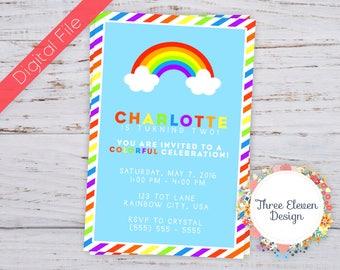 Rainbow Printable Birthday Invitation